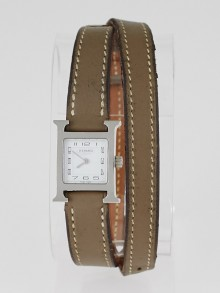 Hermes Etoupe Swift Leather Stainless Steel Heure H TPM Double Tour Quartz Watch
