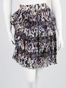 Isabel Marant Midnight Patchwork Print Silk Ruffle Skirt Size 2/34