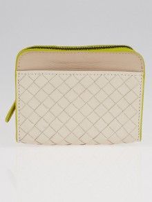 Bottega Veneta Mink/Chartreuse Intrecciato Woven Calf Leather Coin Purse