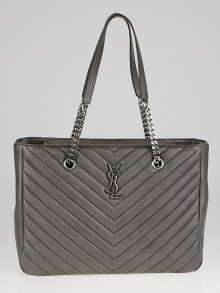 Yves Saint Laurent Grey Chevron Quilted Leather Monogram Tote Bag