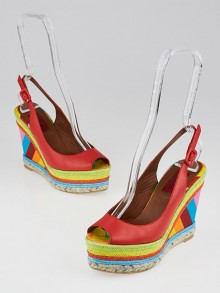 Valentino Multicolor Rainbow Leather/Canvas 1973 Espadrille Slingback Wedges Size 5.5/36