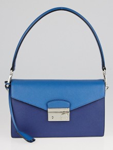 Prada Bluette/Cobalto Saffiano Leather Flap Shoulder Bag BN924K