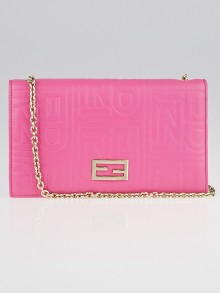 Fendi Pink Embossed Leather Chain Clutch Bag 8M0219