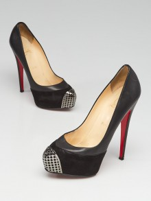 Christian Louboutin Black Leather/Suede and Steel-Toe Platform Maggie 160 Pumps Size 7.5/38