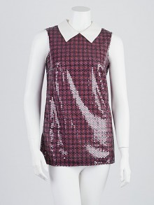 Prada Multicolor Sequin and Silk Sleeveless Blouse Size 4/38