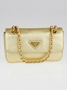 Prada Platino Metallic Saffiano Lux Leather Mini Flap Bag BT0738