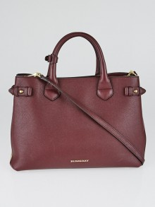 Burberry Mahogany Red Grain Calf Leather House Check Medium Banner Tote Bag