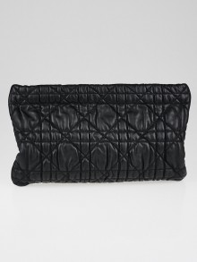 Christian Dior Black Cannage Quilted Lambskin Leather Clutch Bag