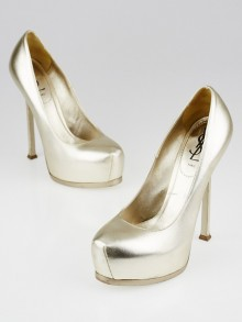 Yves Saint Laurent Goldtone Leather Tribtoo Pumps Size 8/38.5