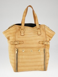 Yves Saint Laurent Almond Crocodile Embossed Nubuck Large Downtown Bag