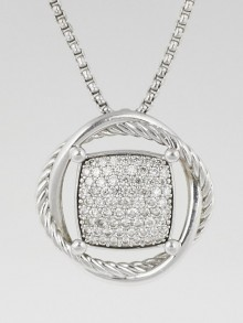 David Yurman Sterling Silver and Diamond Infinity Pendant Necklace