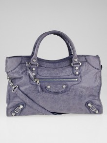 Balenciaga Jacinthe Lambskin Leather Giant 12 Silver Motorcycle City Bag