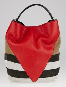 Burberry Red Chevron Leather and Canvas Susanna Medium Hobo Bag