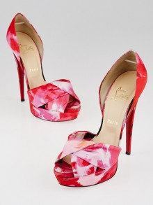Christian Louboutin Pink Popi Fabric Volpi 150 Peep Toe D'Orsay Pumps Size 8.5/39