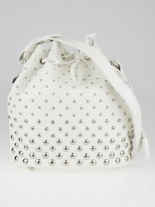 Alexander McQueen White Leather Studded Padlock Bucket Bag