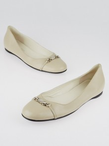 Gucci Beige Leather Ballet Flats Size 10.5/41
