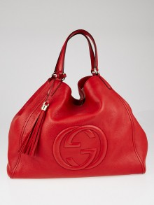 Gucci Red Pebbled Leather Large Soho Tote Bag