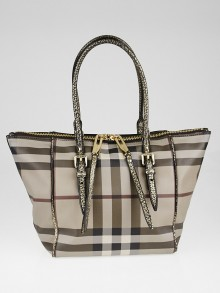 Burberry Smoked Check Canvas Antique Gold Leather Salisbury Small Tote Bag