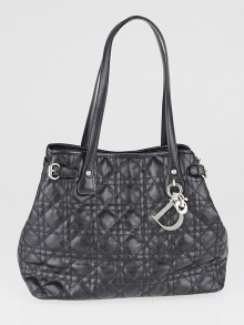 Christian Dior Black Cannage Quilted Coated Canvas Panarea Medium Tote Bag