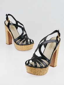 Prada Black Patent Leather and Cork Platform Sandals Size 6.5/37
