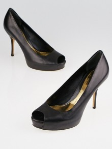 Gucci Black Leather Platform Peep-Toe Pumps Size 6.5/37