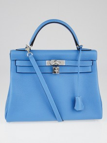 Hermes 32cm Blue Paradise Clemence Leather Palladium Plated Kelly Retourne Bag