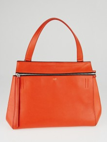 Celine Vermillon Drummed Leather Edge Medium Shoulder Bag