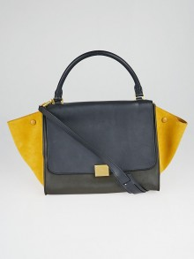 Celine Tri-Color Smooth Leather and Suede Medium Trapeze Bag
