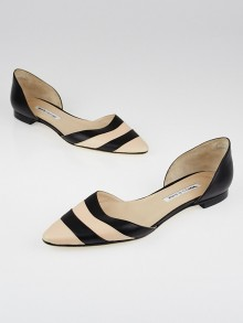 Manolo Blahnik Black/Beige Striped Leather d'Orsay Flats Size 10/40.5