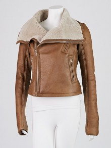 Rick Owens Brown Lambskin Leather and Shearling Biker Jacket Size 10/44