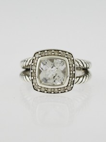 David Yurman 7mm White Topaz and Diamond Petite Albion Ring Size 4