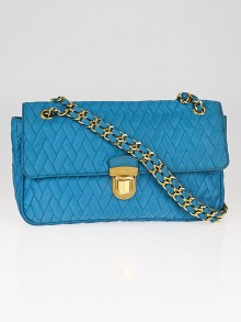 Prada Teal Tessuto Impunto Chain Flap Bag BR4611