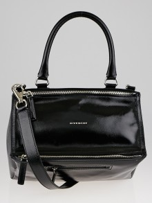 Givenchy Black Textured Patent Leather Medium Pandora Bag