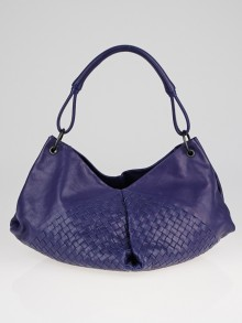 Bottega Veneta Cobalt Intrecciato Nappa Leather Aquilone Fortune Cookie Hobo Bag