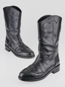 Chanel Black Leather CC Cowboy Boots Size 9.5/40