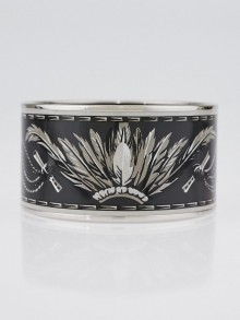 Hermes Black/Silver Brazil Printed Enamel Palladium Plated Extra Wide Bangle Bracelet