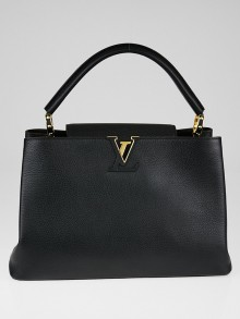 Louis Vuitton Black Taurillon Leather Capucines MM Bag