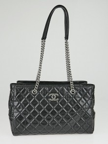 Chanel Black Quilted Glazed Caviar Leather CC Chain Tote Bag
