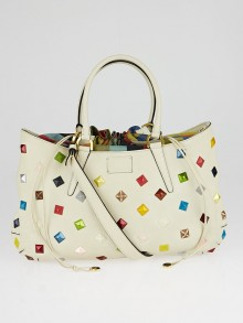 Fendi Milk Calfskin Leather Multicolor Studded Medium B. Fab Tote Bag 8BN237