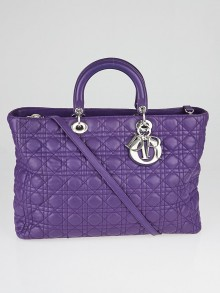 Christian Dior Purple Cannage Quilted Lambskin Soft Lady Dior Large Tote Bag