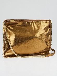 Stella McCartney Metallic Bronze Shaggy Dear Faux-Leather Falabella Medium Crossbody Bag