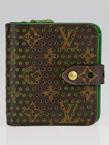 Louis Vuitton Limited Edition Green Monogram Perforated Compact Zip Wallet