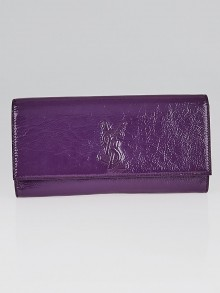 Yves Saint Laurent Purple Crinkled Patent Leather Small Belle du Jour Clutch Bag