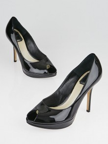 Christian Dior Black Patent Leather Peep Toe Miss Dior Pumps Size 8.5/39