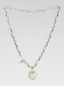 David Yurman Sterling Silver and 18k Gold Cable Heart Figaro Necklace