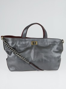Chanel Grey Iridescent Caviar Leather Mademoiselle Tote Bag