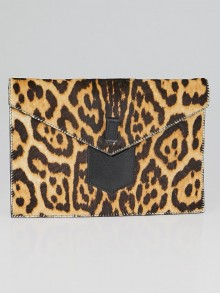 Yves Saint Laurent Leopard Print Pony Hair Envelope Clutch Bag