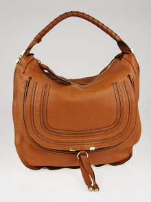 Chloe Brown Pebbled Leather Large Marcie Hobo Bag