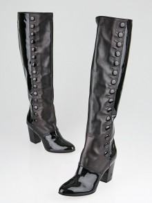 Chanel Black Patent/Smooth Leather High Boots Size 6/36.5