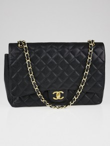 Chanel Black Quilted Caviar Leather Classic Maxi Double Flap Bag